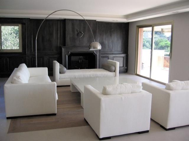 black and white living room in modern style salon noir et blanc au style moderne - Model Ede Salon Moderne Blanc