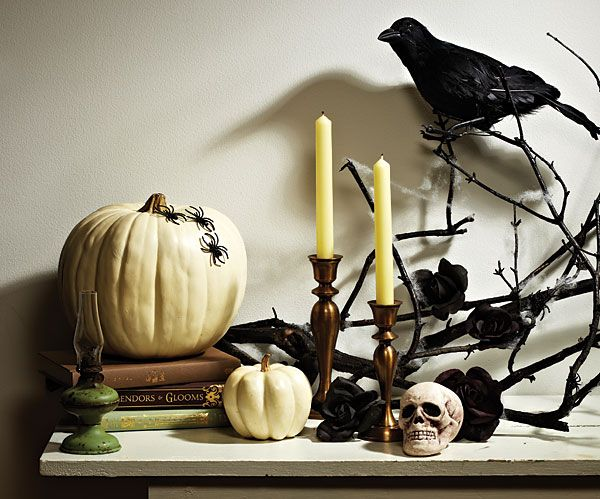 chic halloween decor in shades of cream and black