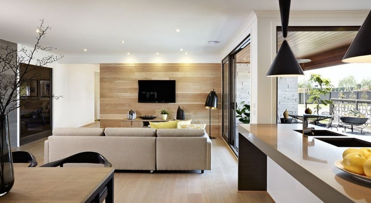 Unique timber panelling on the wall in Carlisle Homes' Meridian display at Selandra Rise