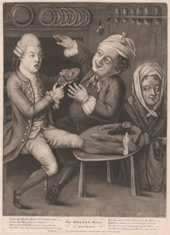 unknown artist, The Modern Beau in Distress, , Mezzotint, Yale Center for British Art, Paul Mellon Fund