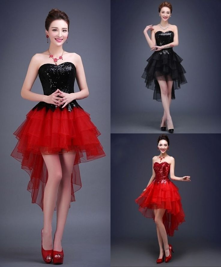 New Black And Red Strapless Short Bridesmaid Dress Party Evening Dress