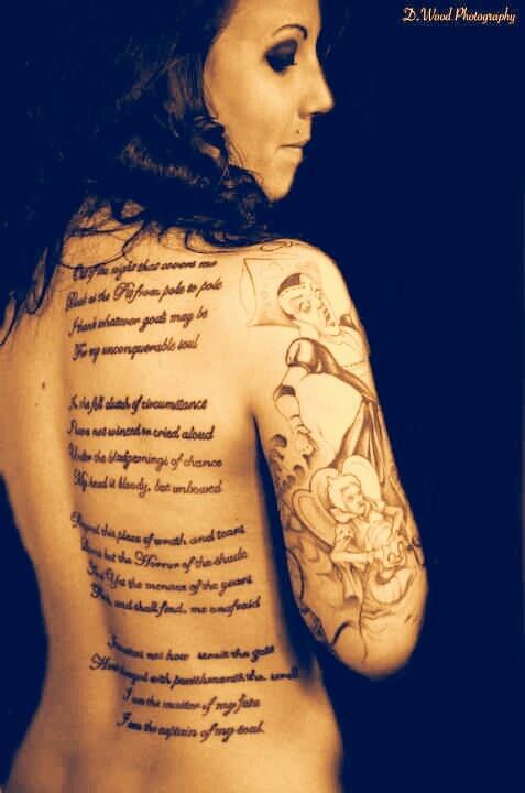 My Invictus Back poem, Alice in Wonderland Half Sleeve ...