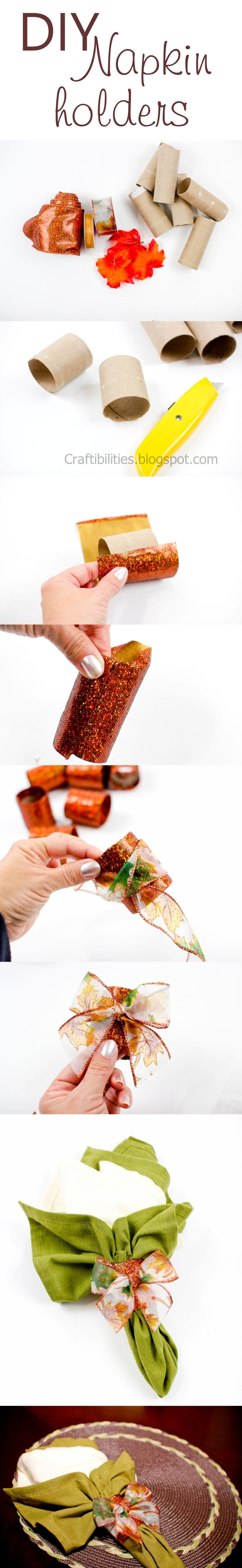 Recycling toilet paper rolls into DIY napkin holders for Thanksgiving