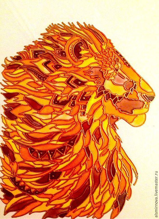 Купить картина на стекле - Лев. Сила и мощь. - рыжий, лев, царь зверей, картина лев