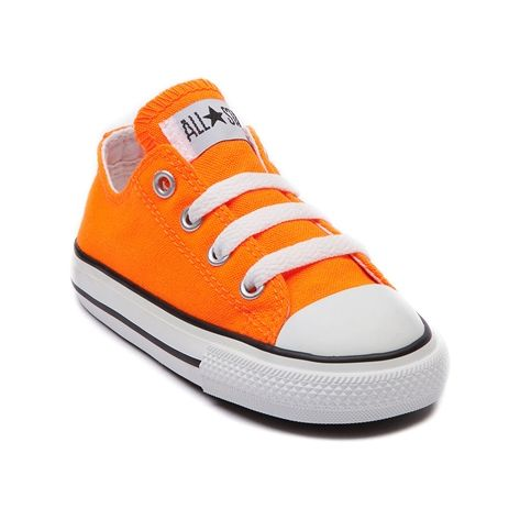 Shop for Toddler Converse All Star Lo Sneaker in Neon Orange at Journeys Kidz. Shop today for the hottest brands in mens shoes and womens shoes at JourneysKidz.com.Classic Converse Lo Top for the younger courtsters. You can never be too old or young for the originals. The smaller styles still feature the famous durable canvas upper and rubber sole like only Converse can do it.  Available exclusively at Journeys Kidz!