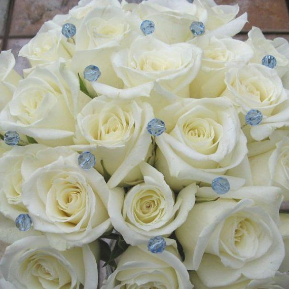 50 Aqua Crystal Jewel Wedding Bouquet Flower Cake Pins Light Blue Round or Bicone