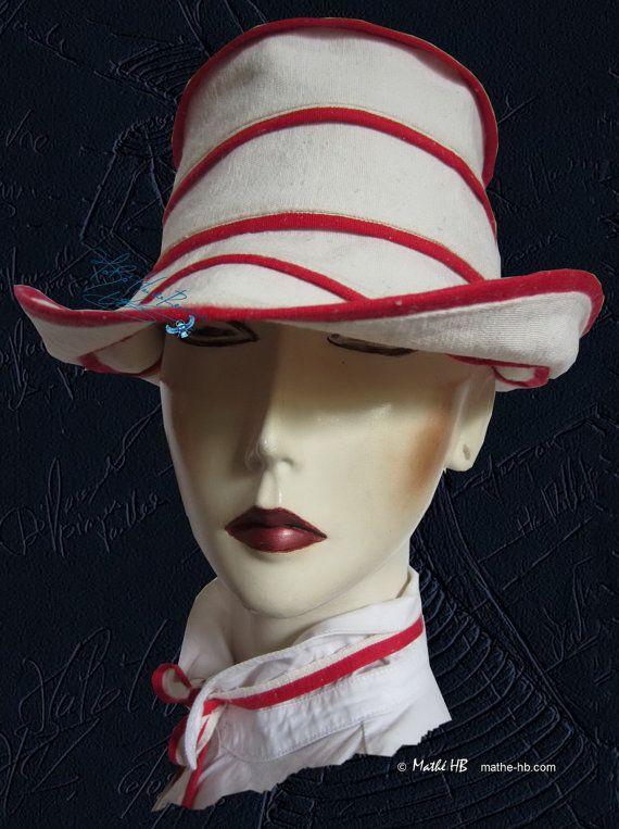 cappello estate lino sabbia y rosso 58-59-cm /L par MatheHBcouture