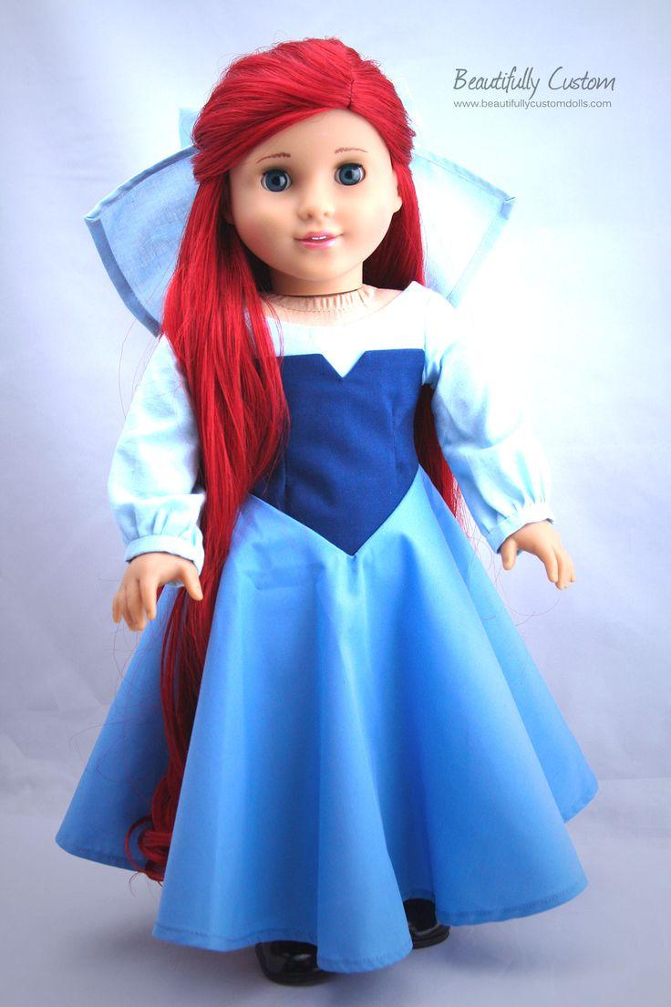 Custom American Girl Doll Princess With Bright Red Mermaid -4936