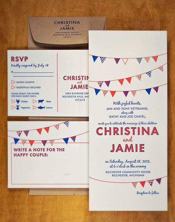 This Two Color Letterpress Printed Bunting Invitation Suite Is Decidedly Festive Without Being Overly Ornate Colors And Paper Are Fully Customizable