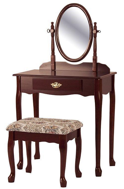 Bathroom Makeup Vanity Set Mirrored Women Dresser Table Home Storage Desk Stool  #BathroomMakeupVanitySet #Traditional