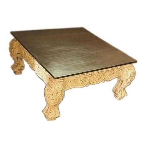 Wooden White Carved Coffee Table With Brown Table Top - FOLKBRIDGE.COM   Buy Gifts. Indian Handicrafts. Home Decorations.