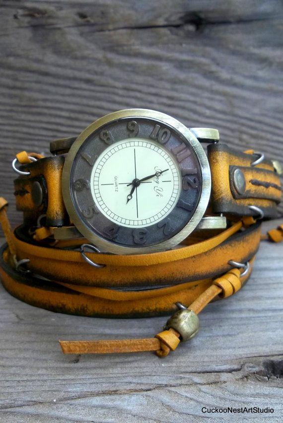 Yellow Leather wrap watch, Womens wrist watch, bracelet watch, Western, Bohemian, Vintage looking