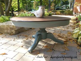 Vintage Coffee Table. Java Gel Stain Annie Sloan Chalk Paint Aubusson Blue Distressed www.niagarafurniturepainting.com