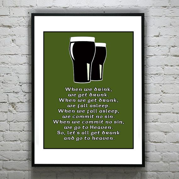 Funny Guiness Beer Irish Art Print Poster 11 X by AnInspiredImage, $19.95