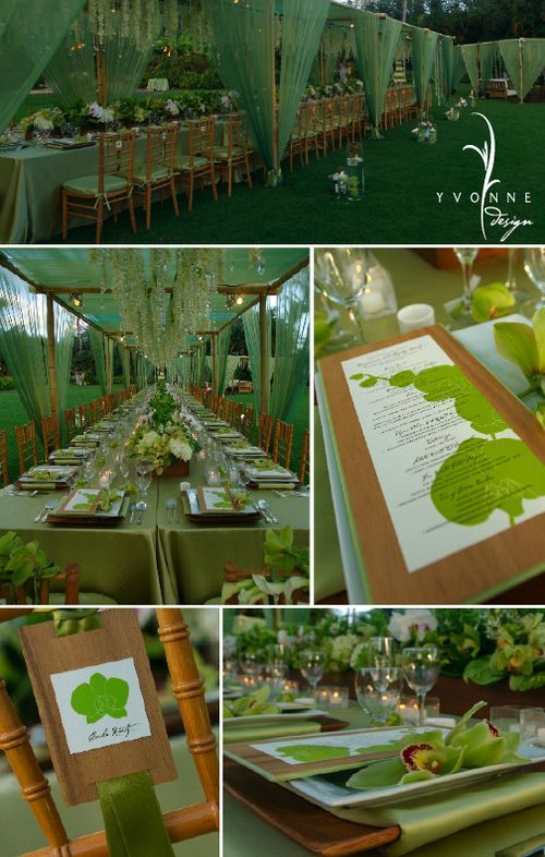 Wedding in greens - love everything about it - sheer draping on bamboo tent with bamboo chairs, hanging crystals, long table, details on the chairs, place settings... love it all!