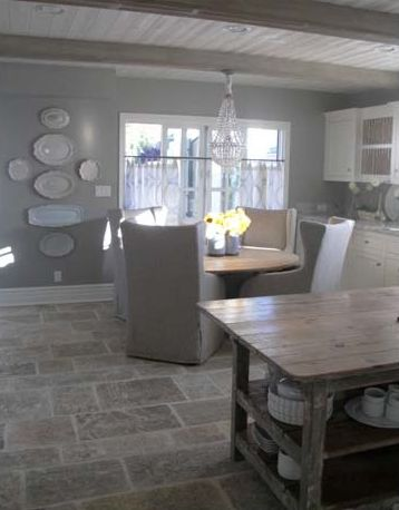 Gray Walls Stone Floor Island And Plates