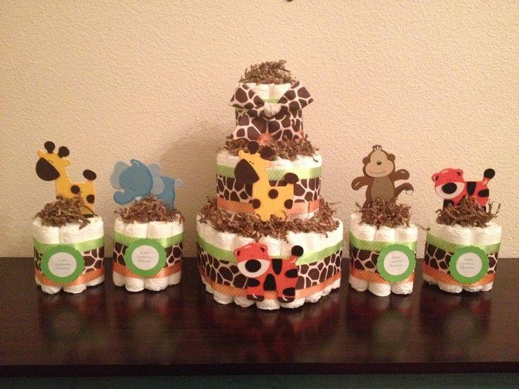 Set of Safari Mini Diaper Cake & 3 Tier Diaper Cake, Baby Shower Centerpieces, Safari Diaper Cakes, Jungle Diaper Cakes, Baby ShowerGift - http://www.babyshower-decorations.com/set-of-safari-mini-diaper-cake-3-tier-diaper-cake-baby-shower-centerpieces-safari-diaper-cakes-jungle-diaper-cakes-baby-showergift.html