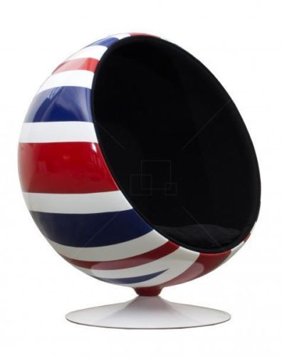 Union Jack Ball Chair Black Wool and Union Jack Fiberglass Shell Eero Aarnio | eBay