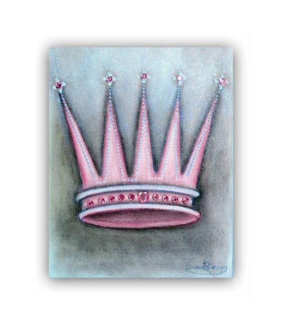 Princess Crown Art Baby Girl Nursery Princess Wall Art Pink