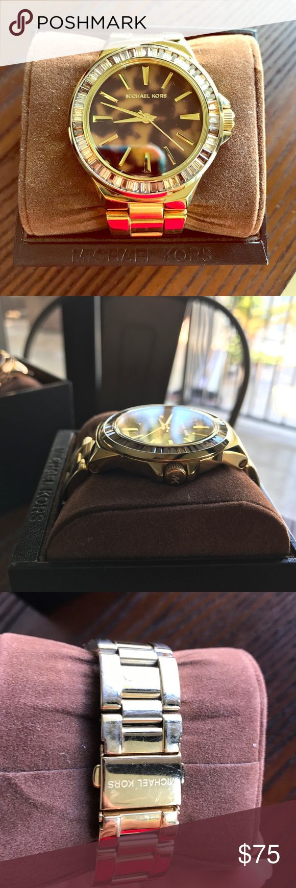 Gold Michael Kors Watch Michael Kors Gold-Tone Glitz Gramercy Watch  **has some wearing ...took pictures of the areas where gold is  fading ? Not sure what to call it . Can be polished and cleaned up and like new . Comes with box and unbeatable price . Don't miss out . Michael Kors Accessories Watches