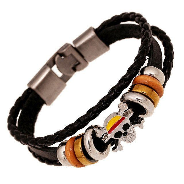 Multi-layer Leather Bracelet with Skull