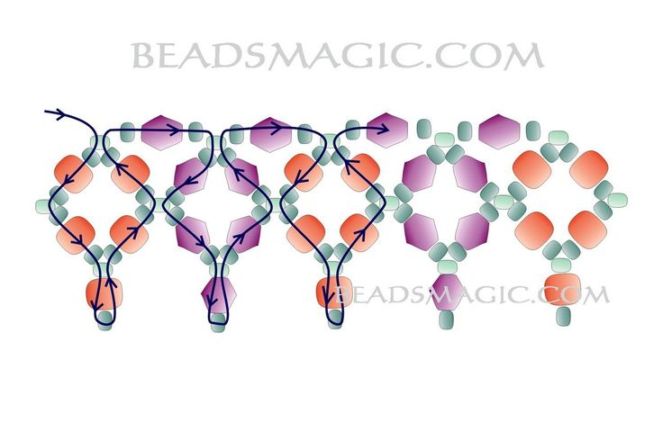 Free pattern for beaded necklace Sky Light   U need: bicone beads 4 -