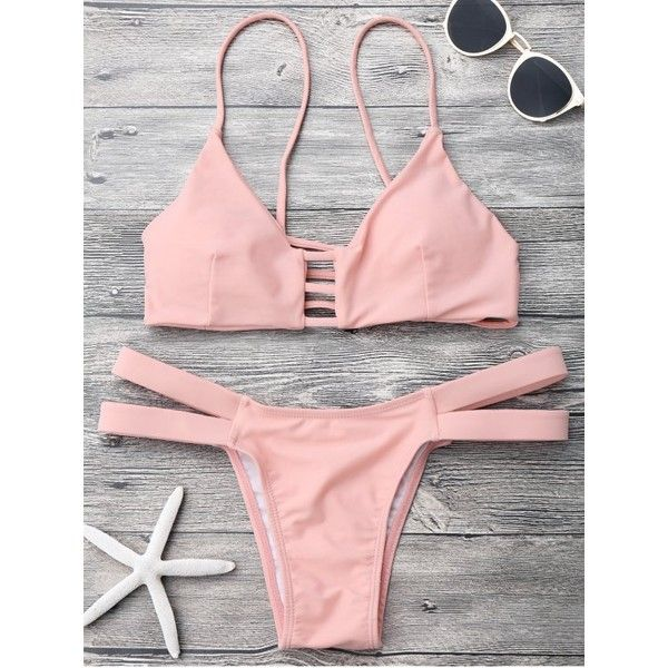 Lattice Banded Bralette Bathing Suit Pink ($16) ❤ liked on Polyvore featuring swimwear, swimming costume, pink swimsuit, pink swimwear, pink bathing suits and swim costume