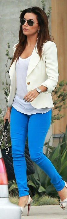 Eva Longoria: Jacket – Reese + Riley  Shoes – Christian Louboutin  Purse – Chanel