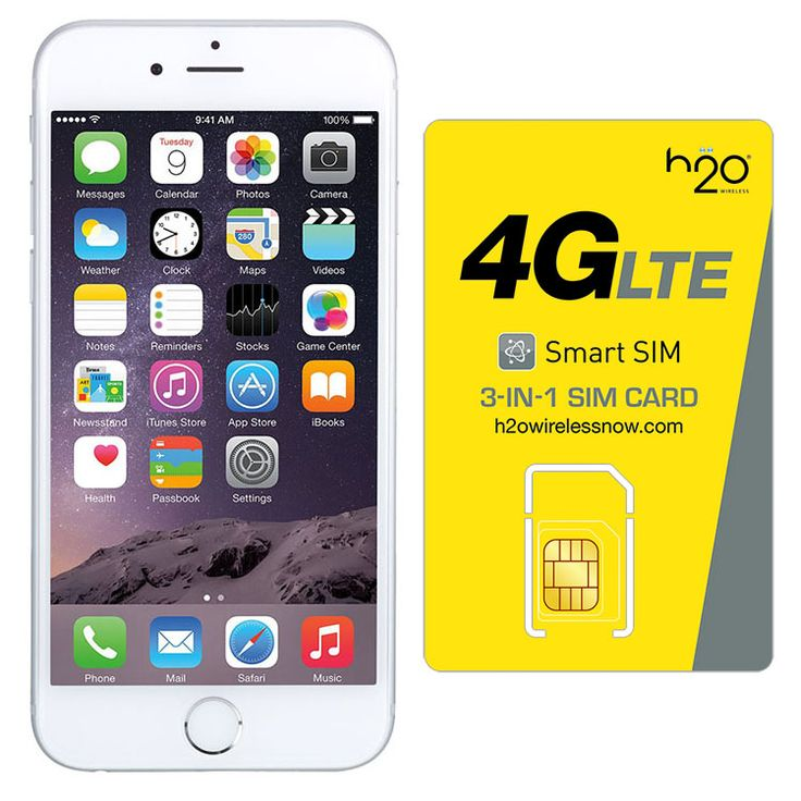 Refurbished iPhone 6 Silver AT&T 128GB & H20 4G LTE SIM Card (1GB Data Included)