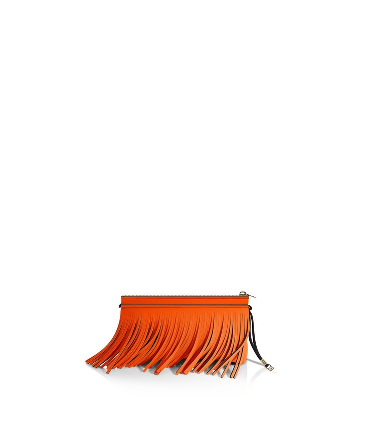Stand out from the crowd with this fringed clutch. Tough-luxe style with attitude now comes in a range of colours.  Comes with a detachable strap  Size  290 x 150 x 25 mm  160g  Made in Italy  Vegan Friendly  Made from Poly-Lycra Fabric   Tangerine