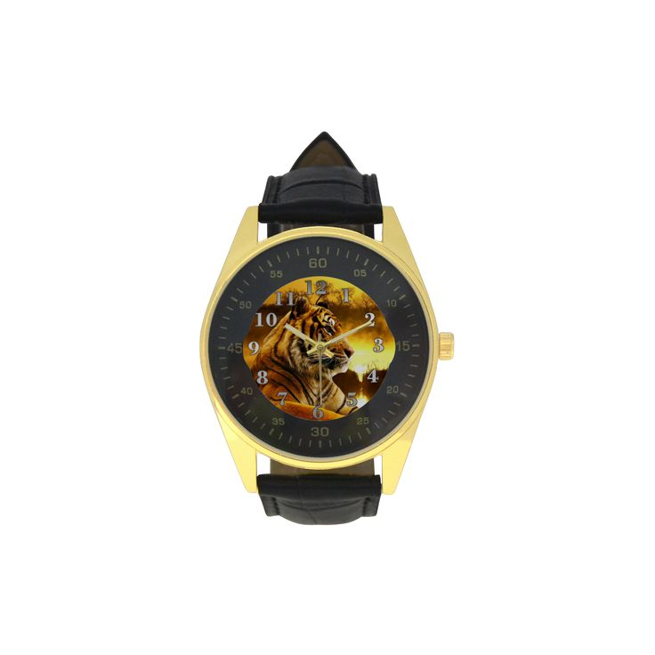 Tiger and Sunset Men's Golden Leather Strap Watch. FREE Shipping. #artsadd #watches #tigers