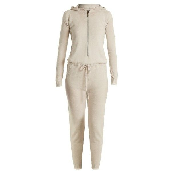Pepper & Mayne Hooded cashmere jumpsuit ($570) ❤ liked on Polyvore featuring jumpsuits, cream, hooded jumpsuit, white long jumpsuit, white jumpsuit, cashmere jumpsuits and long jumpsuits