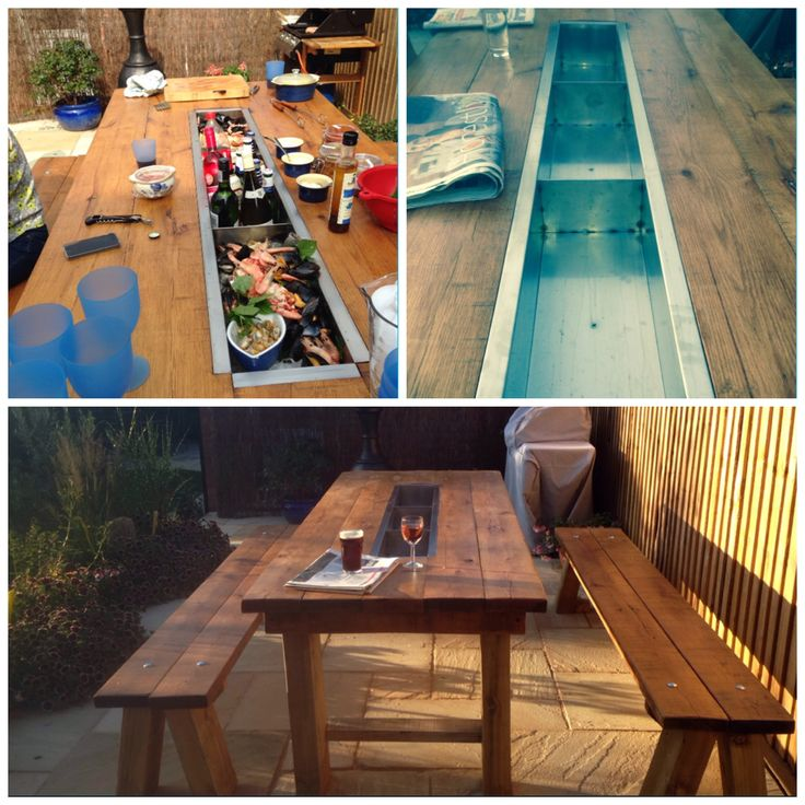 My Dadu0027s Hand Made Trough Table!! Made From 50 Year Old Oak Planks,