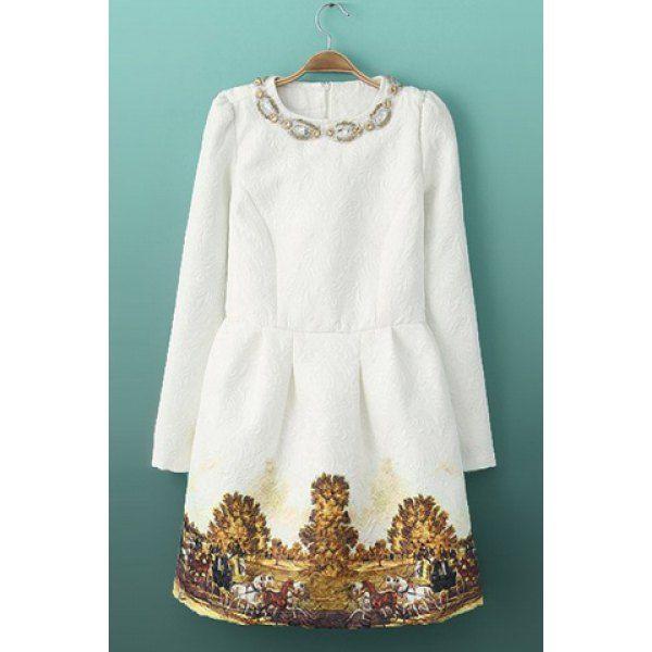 Elegant Round Collar Beading Embellished Scenery Print Zipper Long Sleeves White Dress For Women, WHITE, M in Dresses 2014 | DressLily.com