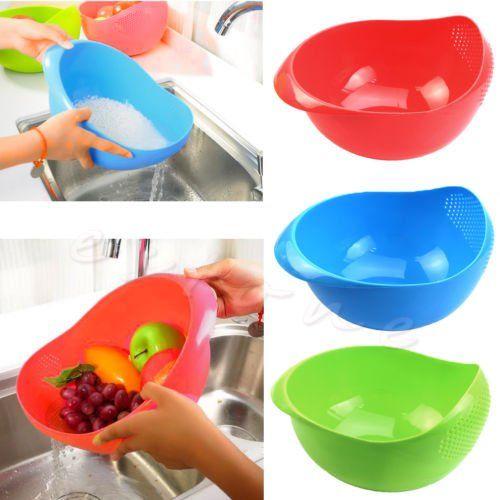 Plastic Vegetables Basin Wash Rice Sieve Fruit Bowl Basket Kitchen Gadget * Click image to review more details.
