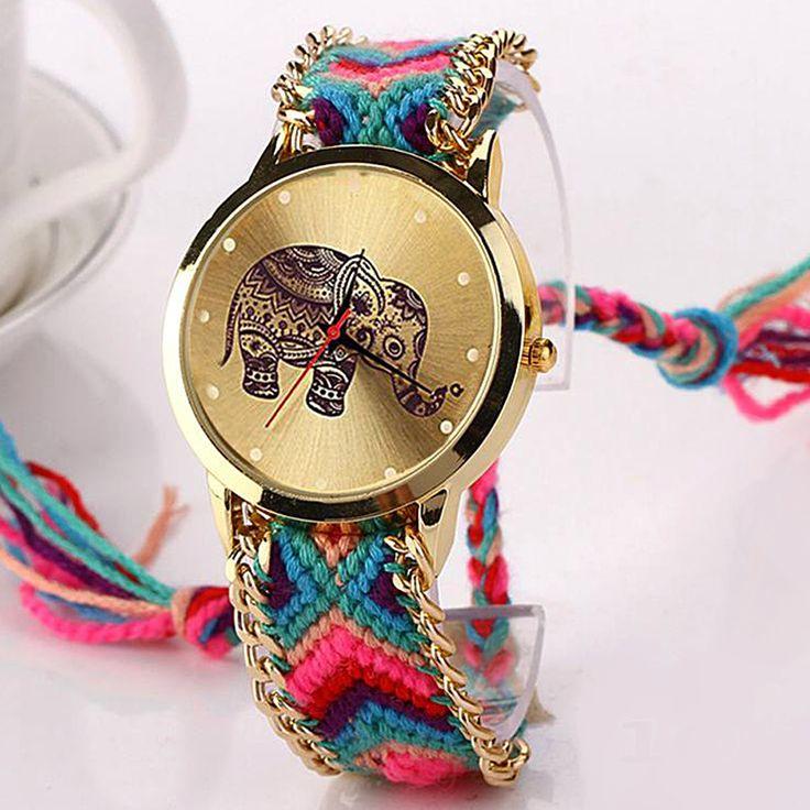 Cheap 2015 moda de nueva mujeres relojes de oro reloj de pulsera de cuarzo relojes de ginebra relojes hechos a mano de la armadura trenzó la pulsera del elefante XR870, Compro Calidad Relojes de moda directamente de los surtidores de China:                                                    Movimiento: reloj de cuarzo