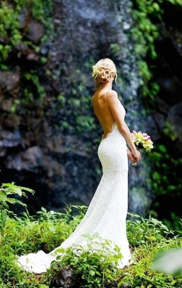 "low back wedding dress  ""Princeville Gown"" is $3400.  ""Poipu Gown"" is very similar and is $1550. http://www.katiemay.com/"