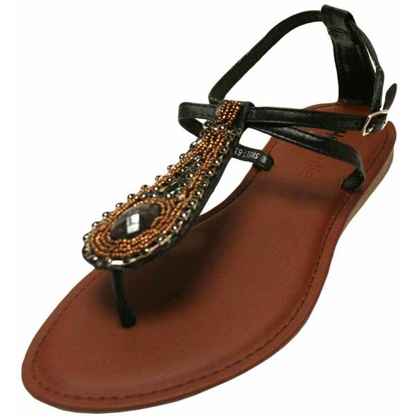 Black Thong Strap Flat Sandal With Ornate Gem Front ($17) ❤ liked on Polyvore featuring shoes, sandals, black, flats women, footwear, black flats, black flat sandals, black pointed flats, ankle strap sandals and ankle strap flats