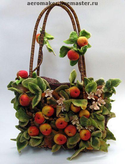 Felted 3D Fruit Bag, 'Garden of Eden'