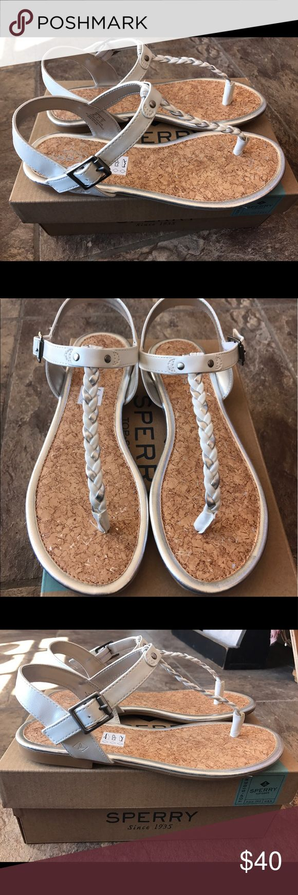 "Women's size 5 Sperry sandals Brand new in box ""Anchor away white/silver""  Size 5 women's sandals. These are so cute and perfect for spring/summer! Please ask any questions ☺️💜 Sperry Top-Sider Shoes Sandals"