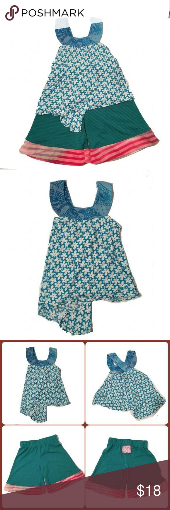 Two piece Halter & palazzo pant set Mix and matched at its best! Teal & white with pinks and turquoise all mixed matched with Halter swing top and cotton palazzo pants. Perfect for hot days! Twirly Girl Matching Sets