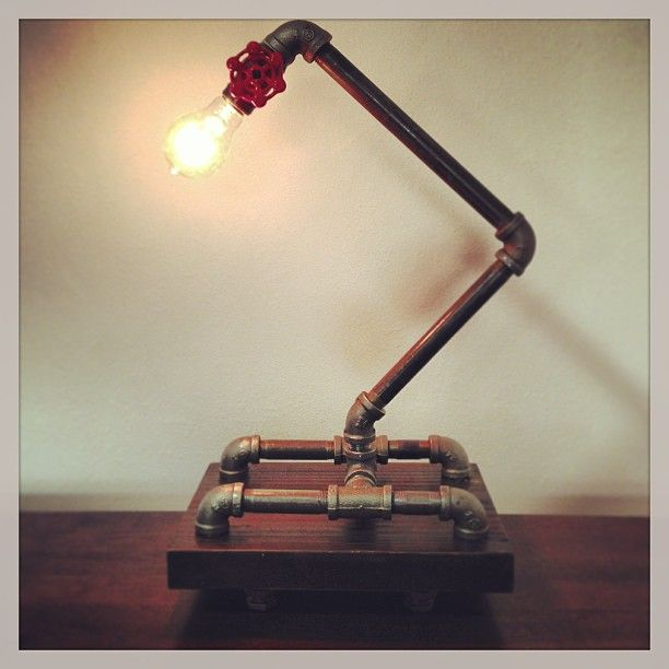 Steel pipe lamp with gate valve on/off switch! #homedecor #art #steelpipe #lamp #edisonbulb #texture #rustic #wood