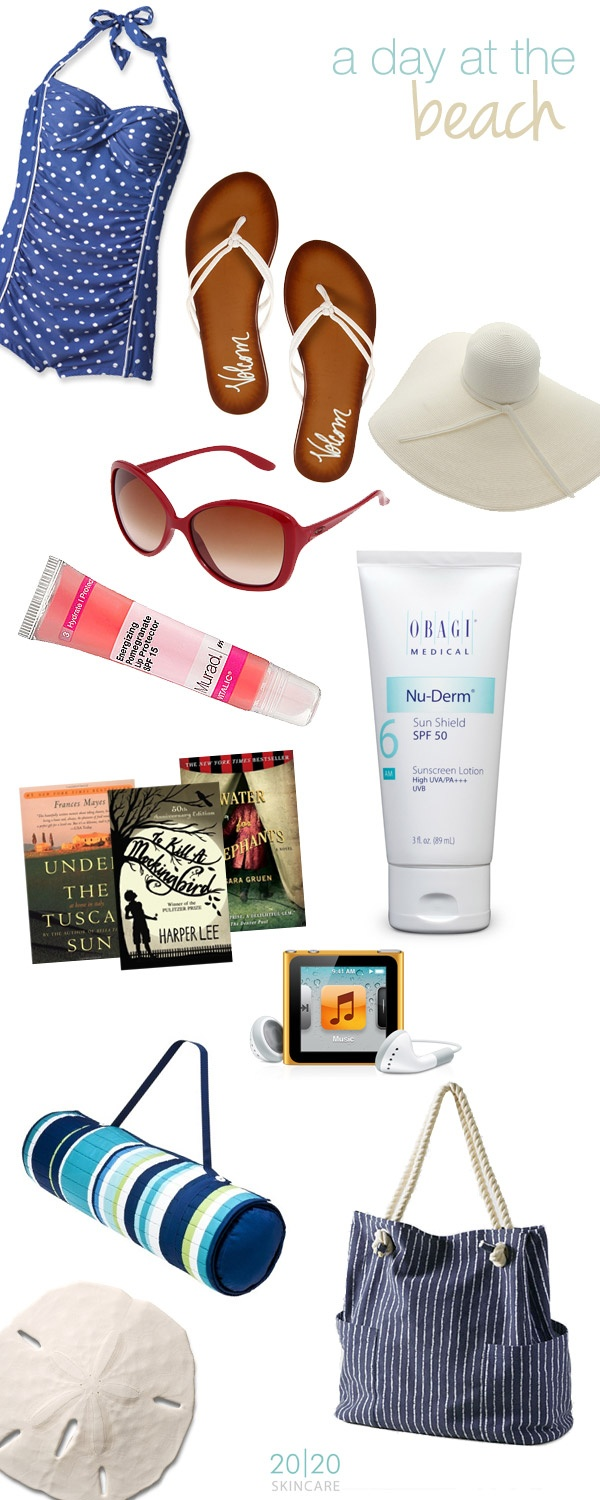 Summer beach essentials: vintage polk-a-dot bathing suit (the Orchid Boutique), sandals, hat & over-sized sunglasses (@zapposdotcom), Murad SPF 15 Lip Protector, SPF 50 Obagi Sunscreen Lotion (2020skincare.com), summer reading, music, beach mat w/ pillow (@target), tote bag (lands' end) & memories