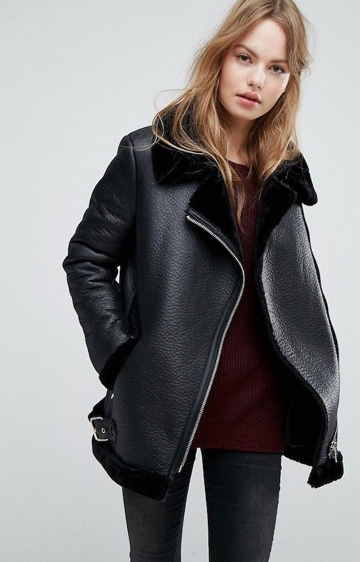 Photos via: ASOS When we came across this black shearling aviator jacket we couldn't believe the price. It's incredibly hard to find a piece that looks straight-up designer at under $100, so safe to s