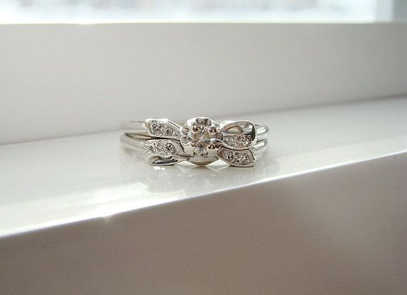 Antique Diamond Bow Engagement Ring Wedding Set Art Deco Edwardian Matching Band Vintage Art Deco White 14K Gold Size 7