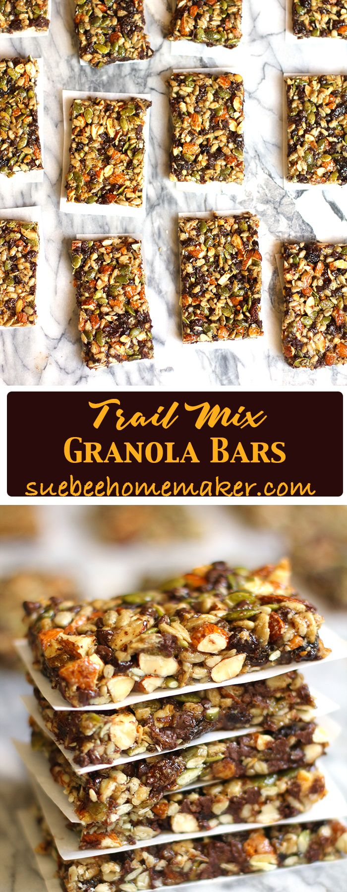 Trail Mix Granola Bars combine all the salty, crunchy nuts, with raisins and chocolate chips - along with brown rice syrup, peanut butter, and almond meal!