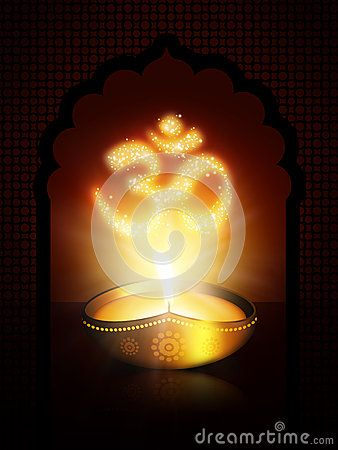 Oil lamp with om sign over dark gold background