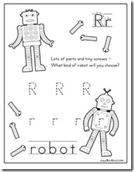 rr is for robot handwriting worksheet pinterest preschool handwriting sheets and. Black Bedroom Furniture Sets. Home Design Ideas