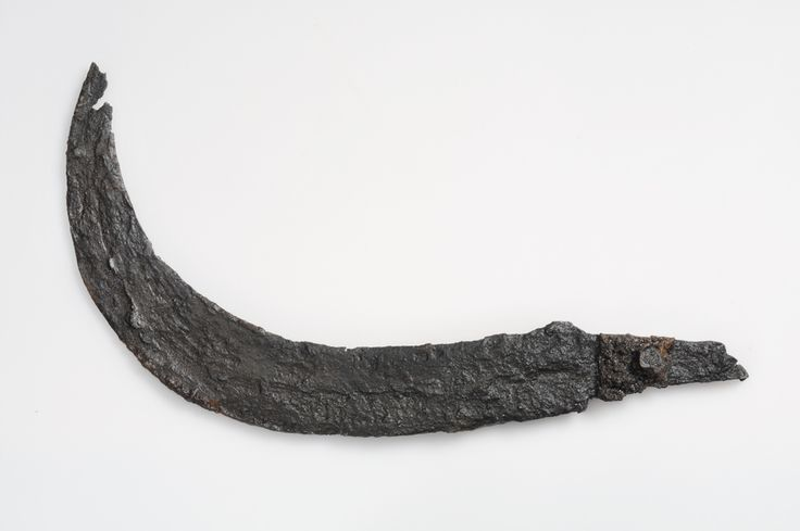 Sickle Iron The sickles of this kind were used while harvesting the crop.   Grave find, Skogsome, Säve, Bohuslän, Sweden. SHM 10495