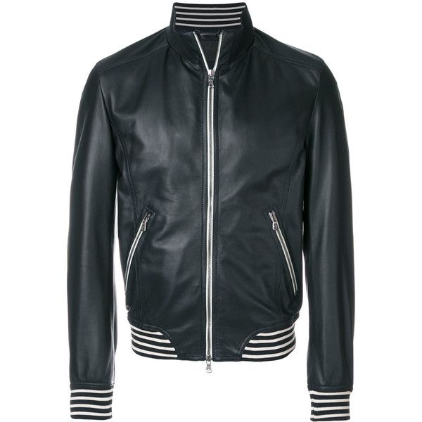 Dolce & Gabbana bomber jacket ($2,505) ❤ liked on Polyvore featuring men's fashion, men's clothing, men's outerwear, men's jackets, black, mens real leather jackets, men's stand collar jacket, mens leather jackets, mens leather flight jacket and mens leather bomber jacket